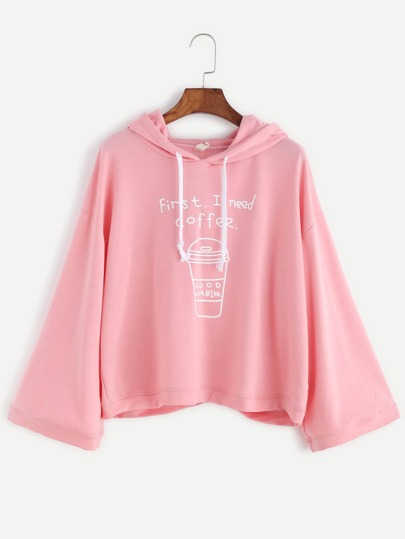 Pink Coffee Cup Print Drawstring Hooded Sweatshirt