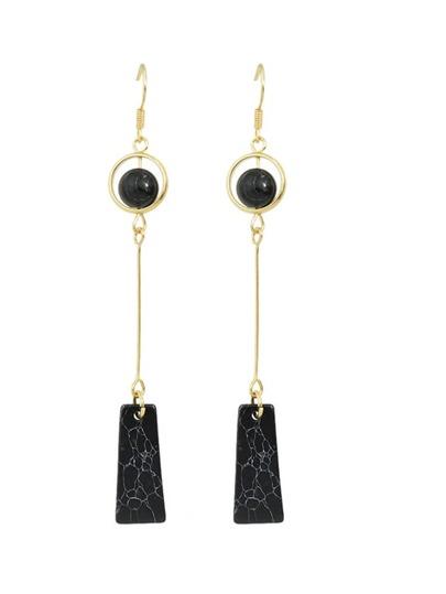 Black Latest Imitation Turquoise Drop Earrings