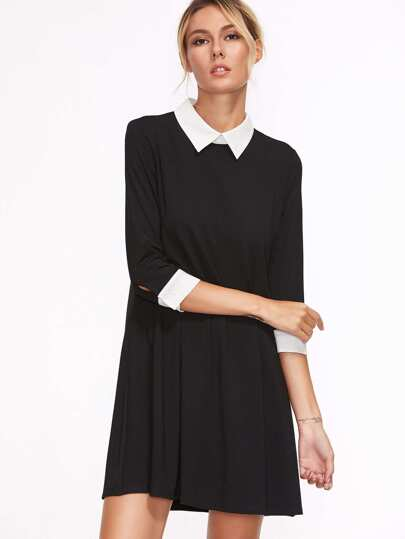 Black Contrast Collar And Cuff Shirt Dress