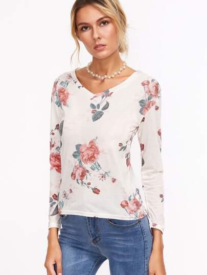 Beige Floral Print V Neck T-shirt