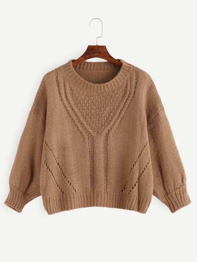 Khaki Drop Shoulder Hollow Sweater