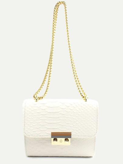 Mini White Crocodile Embossed PU Flap Chain Bag