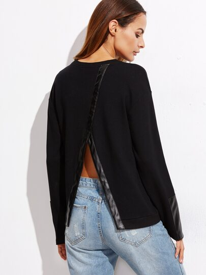 Black Faux Leather Trim Split Back Sweatshirt