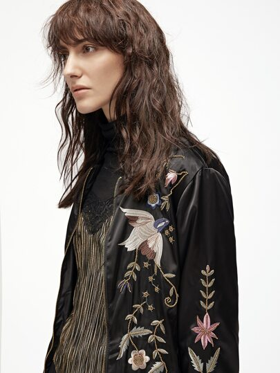 Black Bird Embroidery Zipper Up Jacket