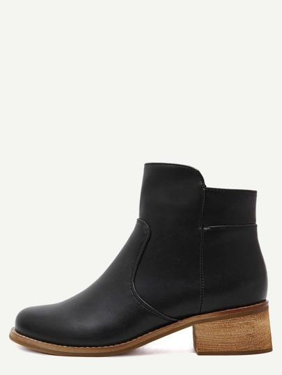 Black Faux Leather Side Zipper Cork Heel Booties
