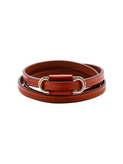 Brown Metal Buckle Skinny Belt