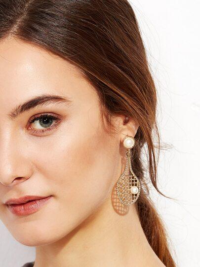 Gold Faux Pearl Tennis Racket Design Drop Earrings