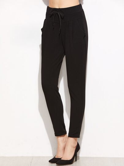 Black Drawstring Tapered Leg Pants