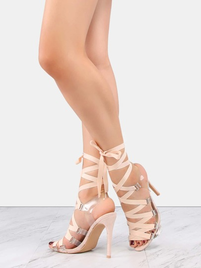 Faux Suede Ribbon Lace Up Heels NUDE