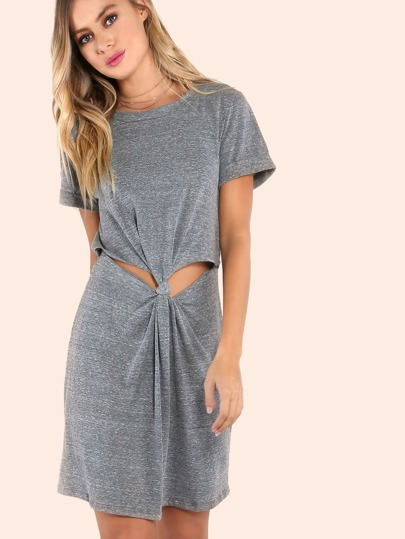 Cuffed Sleeve Knotted Peakaboo Dress