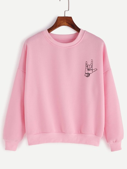 Pink Gesture Print Drop Shoulder Sweatshirt