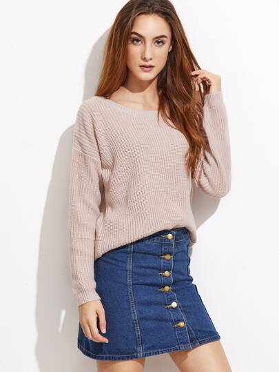 Apricot Drop Shoulder Pullover Sweater