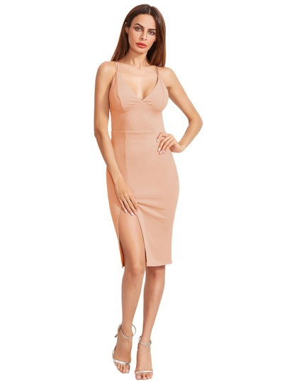 Slit Detail Strappy Back Slip Dress
