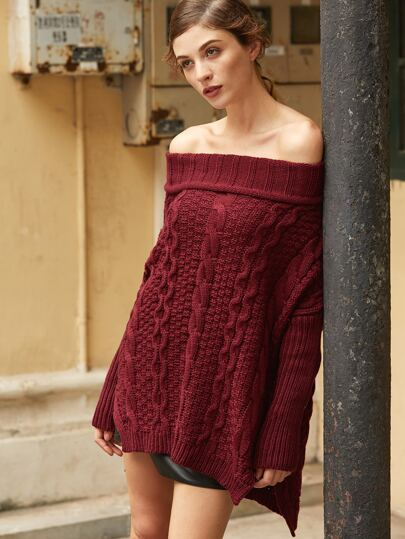 Cable Knit Turtleneck Off The Shoulder High Low Sweater