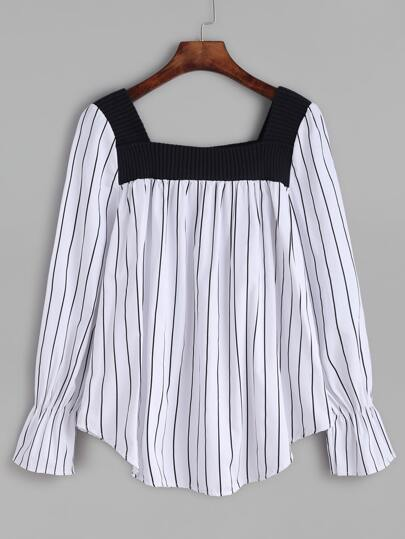 Black And White Vertical Striped Square Neck Blouse