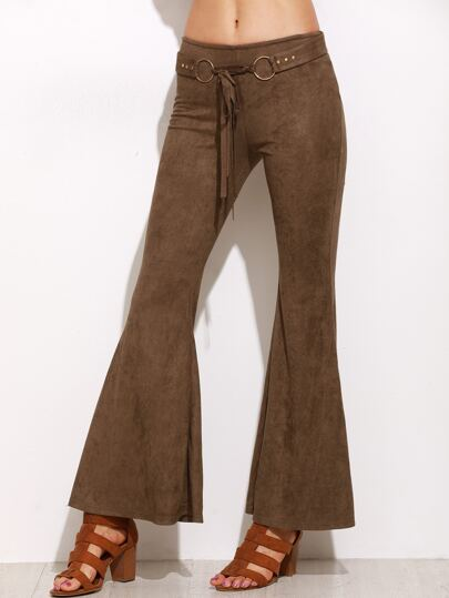 Brown Faux Suede Belted Flare Pants