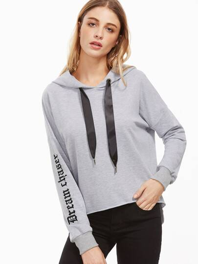 Heather Grey Letter Print High Low Hoodie