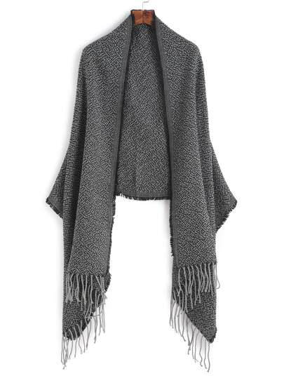 Black Mottled Fringe Edge Shawl Scarf