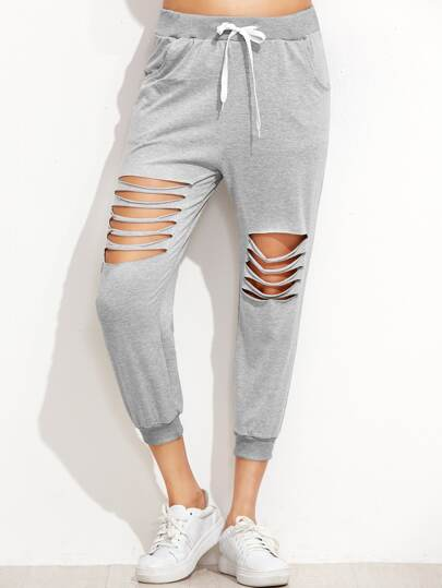 Grey Ladder Cut Out Drawstring Pants