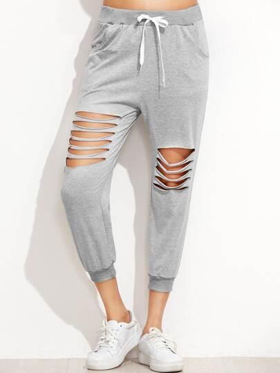 Pantalones con aberturas y cordón - gris