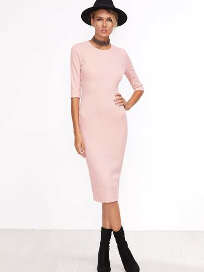 Pink Half Sleeve Casual Midi Dress