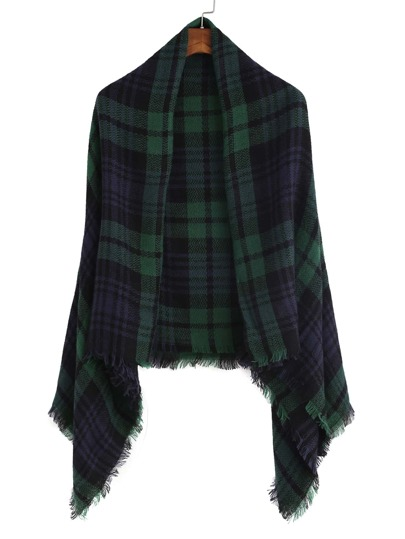 Vintage Green And Navy Plaid Fringe Shawl Scarf
