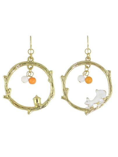Gold Color Big Circle Pendant Earrings For Women