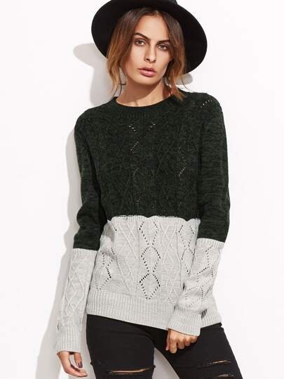 Contrast Geo Pattern Eyelet Pullover Sweater
