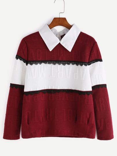 Color Block Doll Collar Letter Embossed Lace Trim Sweatshirt