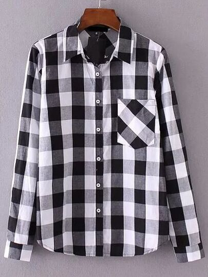 Black And White Plaid Blouse With Pocket