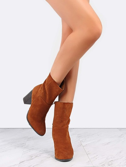 High Shaft Stacked Heel Boots CHESTNUT