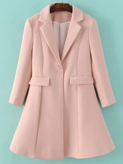 Pink Lapel Single Button Longline Coat