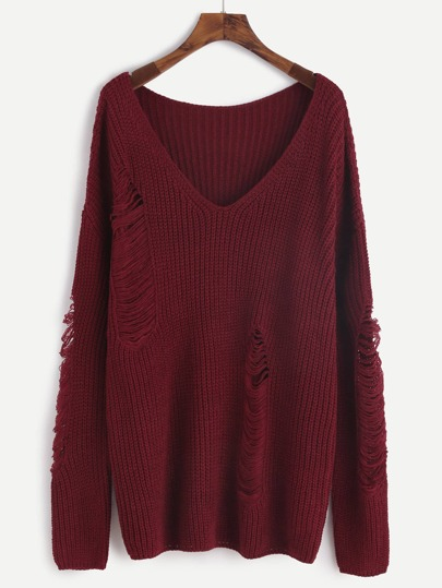 Burgundy V Neck Drop Shoulder Ripped Sweater