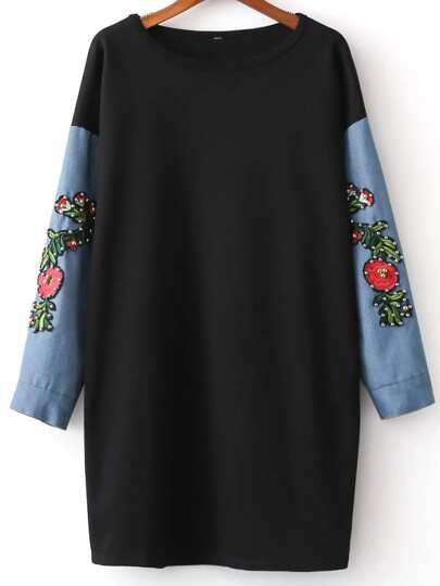 Black Beading Embroidery Contrast Denim Sleeve Sweatshirt
