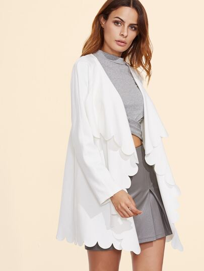 White Scallop Edge Drape Collar Coat