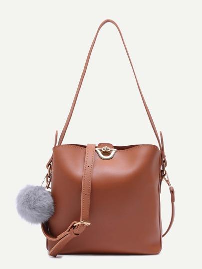 Khaki PU Pom Pom Shoulder Bag With Convertible Strap
