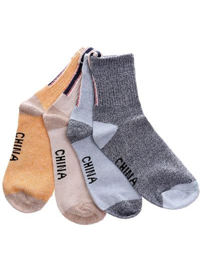 4PCS Vintage Colorblock Crew Socks