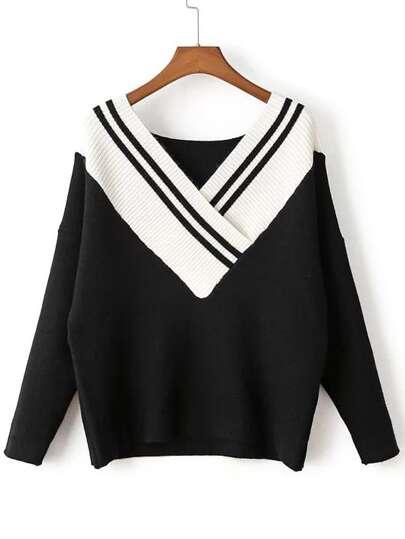Contrast V Neck Drop Shoulder Knitwear
