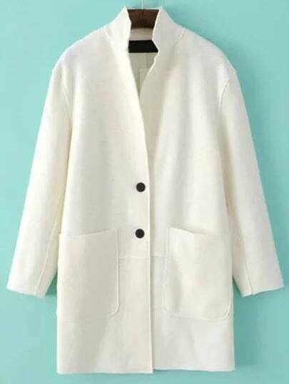 White Single Breasted Pocket Wool Blend Coat