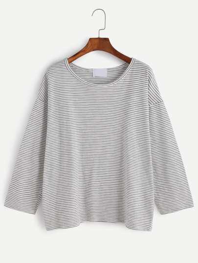 gestreifte T-shirt Drop Schulter -schwarz