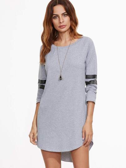 Heather Grey Striped Sleeve Curved Hem High Low Dress