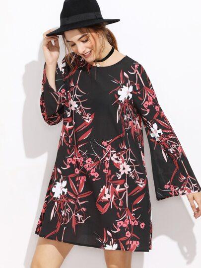 Black Botanical Print Bell Sleeve A Line Dress
