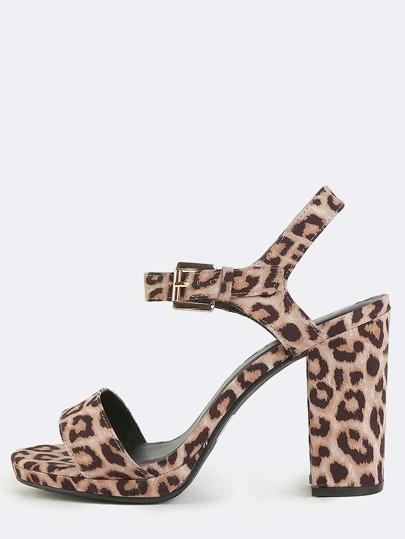 Leopard Open Toe Chunky Heels LEOPARD