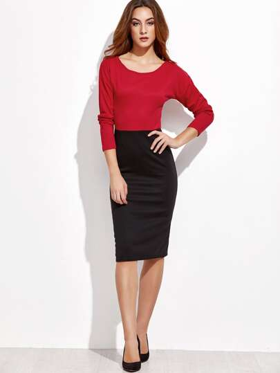 Color Block Long Sleeve Zip Back Pencil Dress