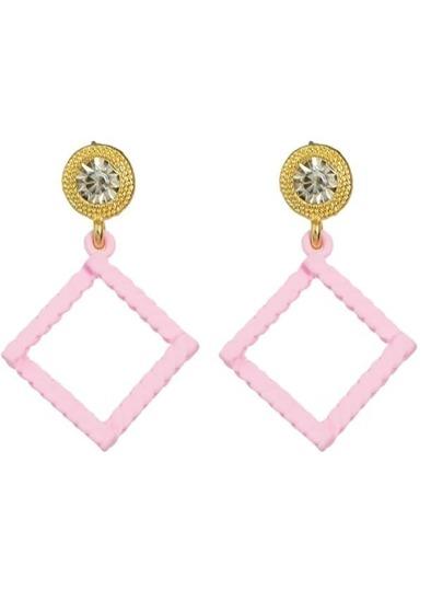 Pink Rhinestone Square Shape Drop Earrings