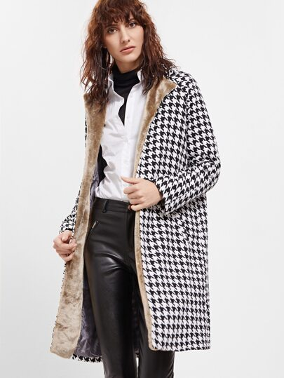 Black And White Faux Fur Trim Houndstooth Coat