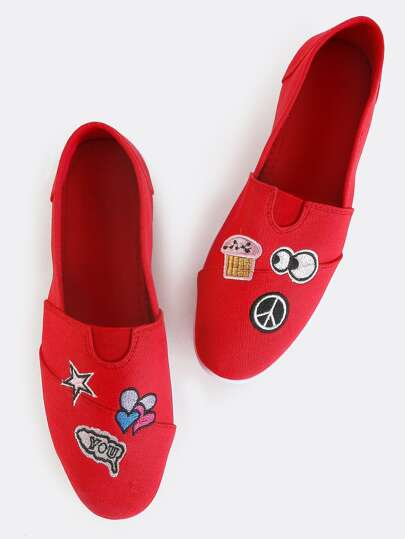 Quirky Patch Canvas Flats RED