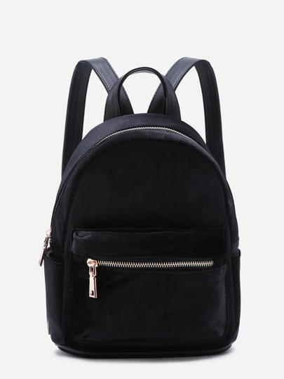 Black Velvet Front Zipper Backpack