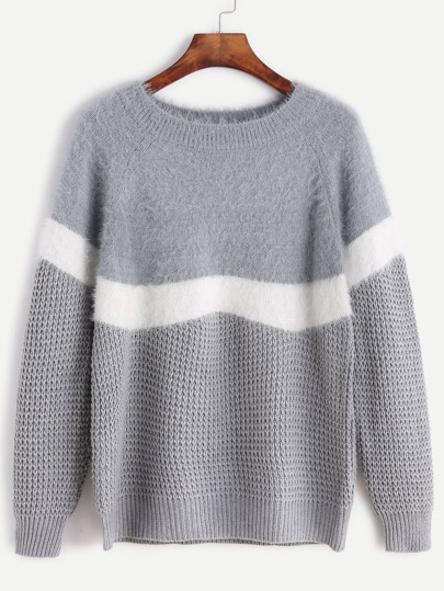 Grey Contrast Trim Raglan Sleeve Fuzzy Sweater