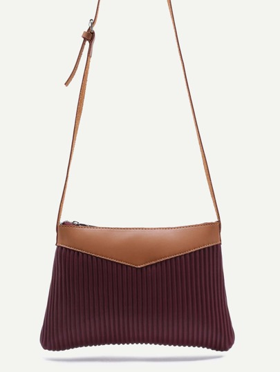 Burgundy Ribbed PU Zip Closure Crossbody Bag
